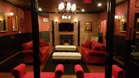 View from reception into luxury dog daycare at Executive dog lounge in Jersey City