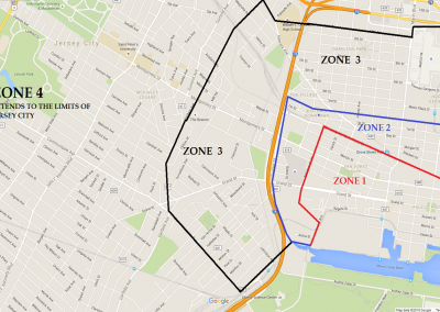 Map of jersey city showing the outlined chauffeur zones for executive dog lounge.